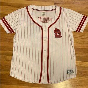 PINK St Louis Cardinals jersey style top; Sz M